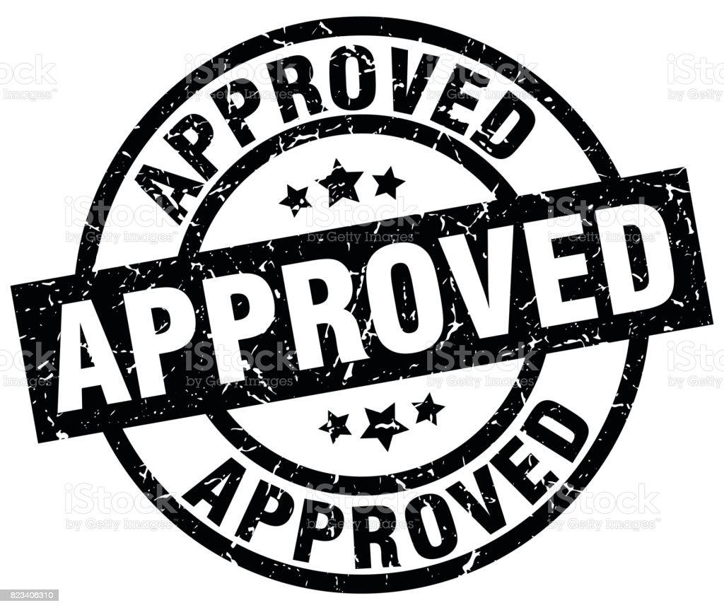 approved round grunge black stamp vector art illustration