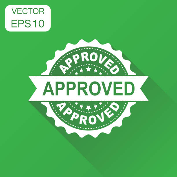 Approved seal stamp icon. Business concept approve accepted badge pictogram. Vector illustration on green background with long shadow. vector art illustration