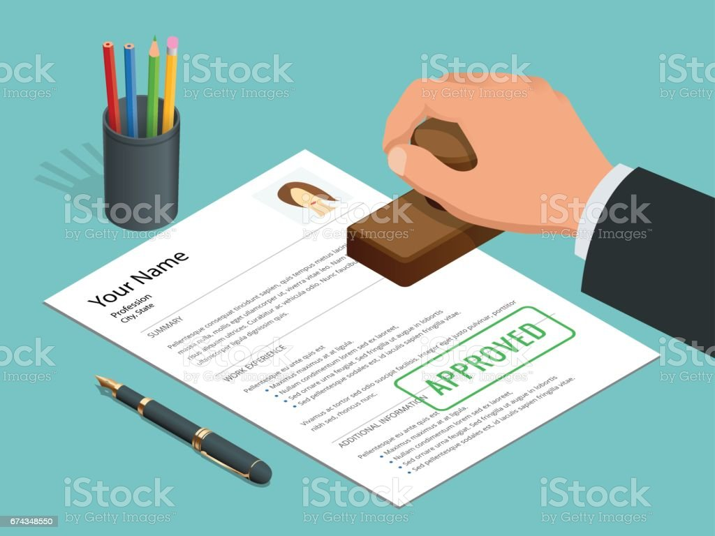 Approved stamp in hand businessman and Approved document with stamp, pen. Isometric Vector illustration. vector art illustration