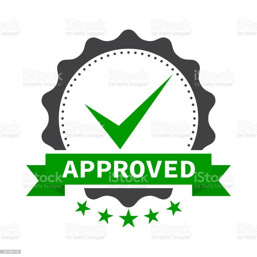 Approved stamp, label, sticker or stick flat icon - illustrazione arte vettoriale