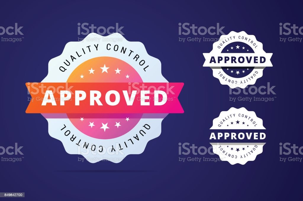 Approved stamp with three color variants - colorfull and simple badge. - illustrazione arte vettoriale