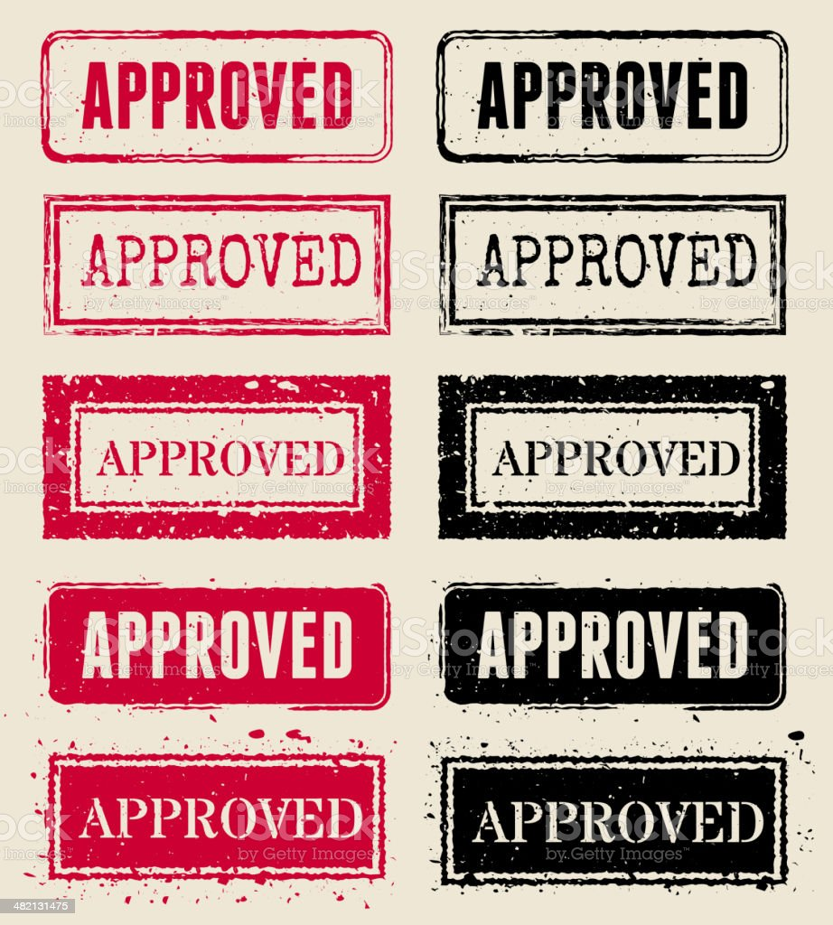 Approved Vector Rubber Stamp Collections vector art illustration