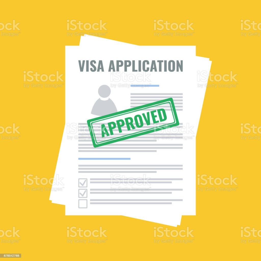 approved visa application, flat design vector art illustration