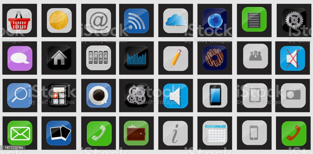 Apps icon set vector illustration royalty-free stock vector art