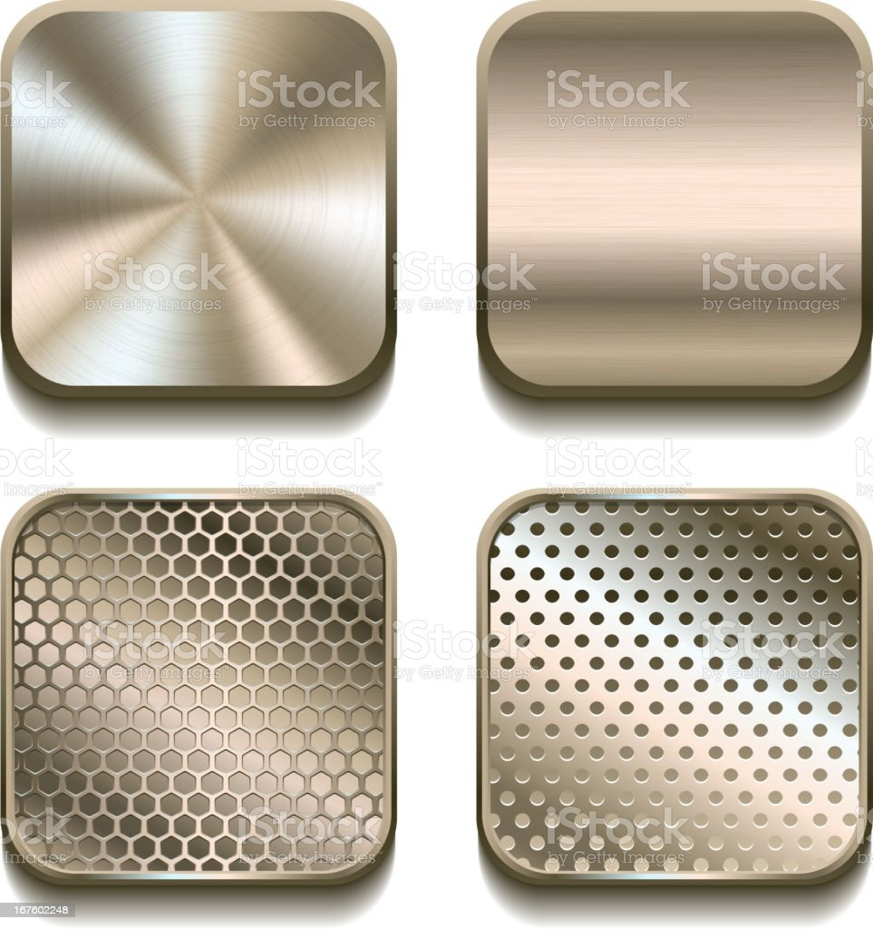 Apps metal icon set. royalty-free apps metal icon set stock vector art & more images of brass