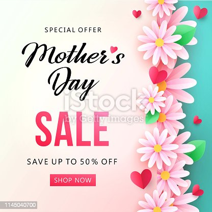 istock Нappy Mother's Day Sale background with beautiful chamomile flowers. 1145040700