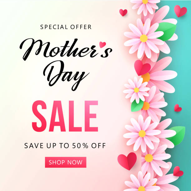нappy mother's day sale background with beautiful chamomile flowers. - mothers day stock illustrations