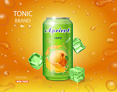 Apricot fruit drink in a can tin advertising poster design with bubbles.