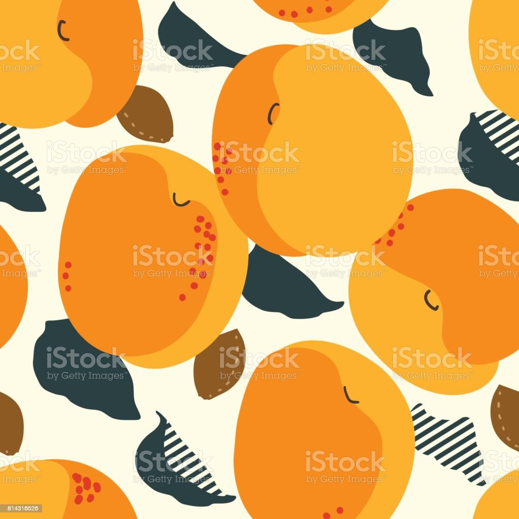 Apricot fruits seamless pattern. Fresh apricots, leaves and stones background. Trendy freehand drawing illustration vector art illustration