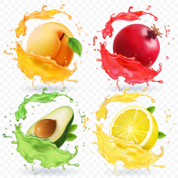 Apricot, lemon, pomegranate, avocado juice. Fruits in realistic splash vector set Apricot, lemon, pomegranate, avocado juice. Fruits in realistic splash vector set. lemon fruit stock illustrations