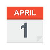 April 1 - Calendar Icon - Vector Illustration