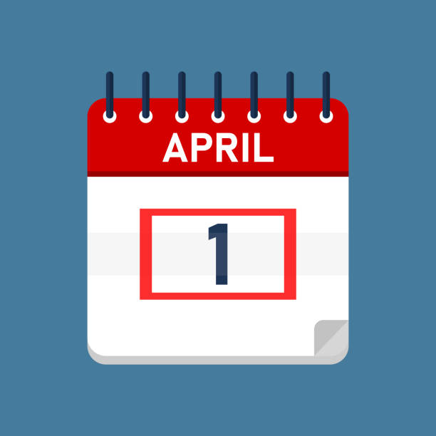 April 1 Daily Calendar Daily calender isolated on blue background with red square. Mark the date, holiday, important date, special date. april fools day stock illustrations