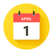 April 1. Round calendar Icon with long shadow in a Flat Design style. Daily calendar isolated on a yellow circle. Vector Illustration (EPS10, well layered and grouped). Easy to edit, manipulate, resize or colorize.