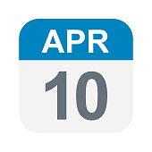 April 10 - Calendar Icon - Vector Illustration