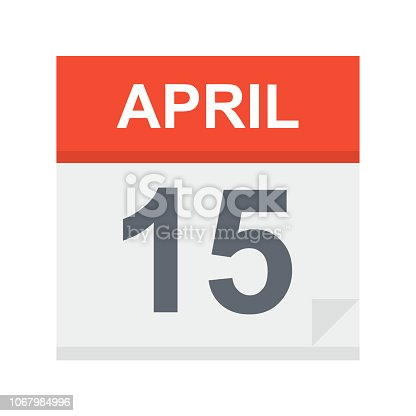 April 15 - Calendar Icon - Vector Illustration