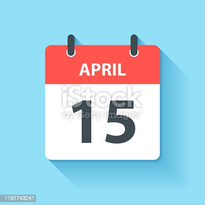 April 15. Calendar Icon with long shadow in a Flat Design style. Daily calendar isolated on blue background. Vector Illustration (EPS10, well layered and grouped). Easy to edit, manipulate, resize or colorize.
