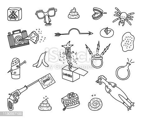 Set of hand-drawn April Fools jokes. Vector Doodles.