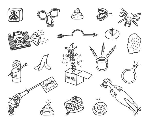 April 1st Fools Day Doodle Set Set of hand-drawn April Fools jokes. Vector Doodles. april fools day stock illustrations