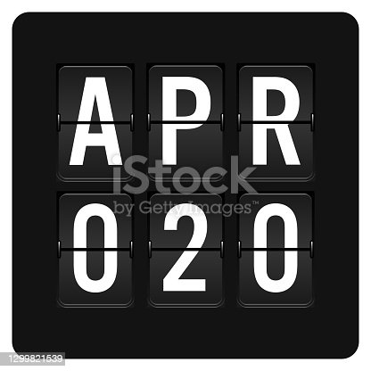 istock April 20 - Daily Calendar and black flip scoreboard  digital timer with date 1299821539