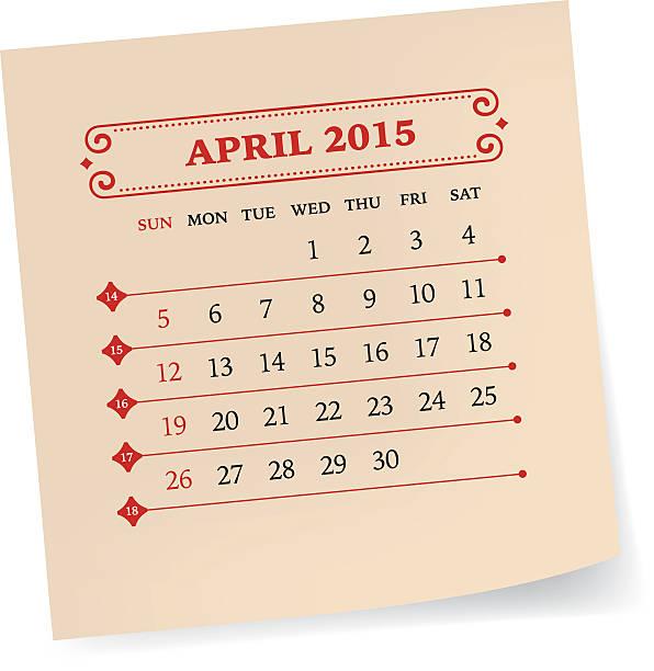 kalender april 2015 - vintage kalender stock-grafiken, -clipart, -cartoons und -symbole