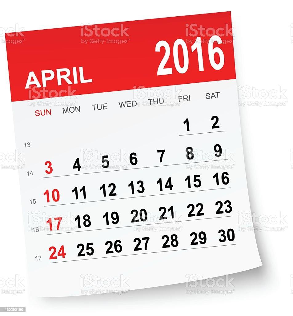 April 2016 calendar vector art illustration