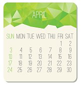 April 2016 vector monthly calendar. Week starting from Sunday. Contemporary low poly design in bright green color.