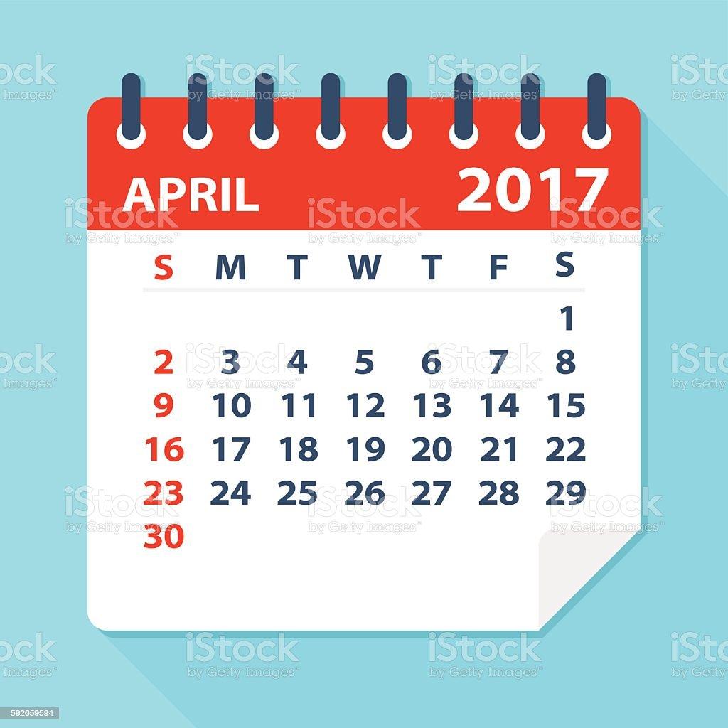 April 2017 calendar - Illustration vector art illustration