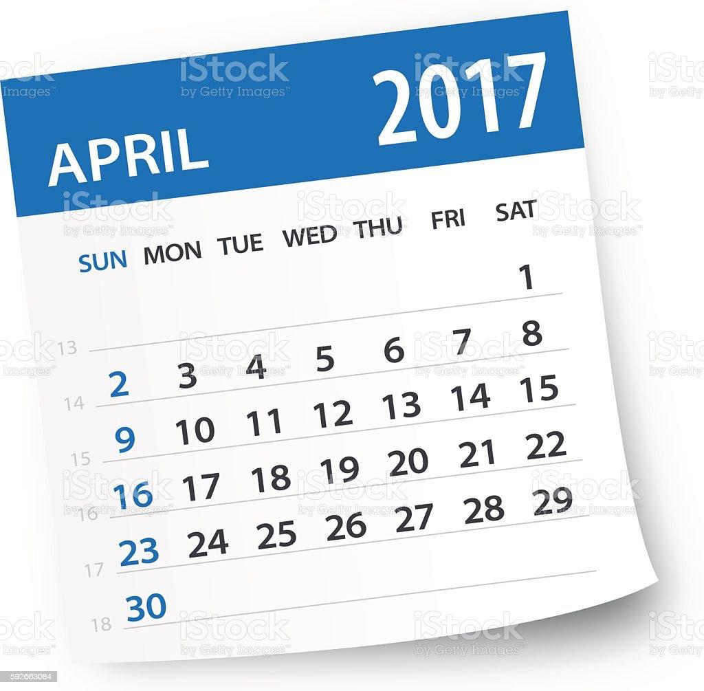 April 2017 calendar leaf - Illustration vector art illustration