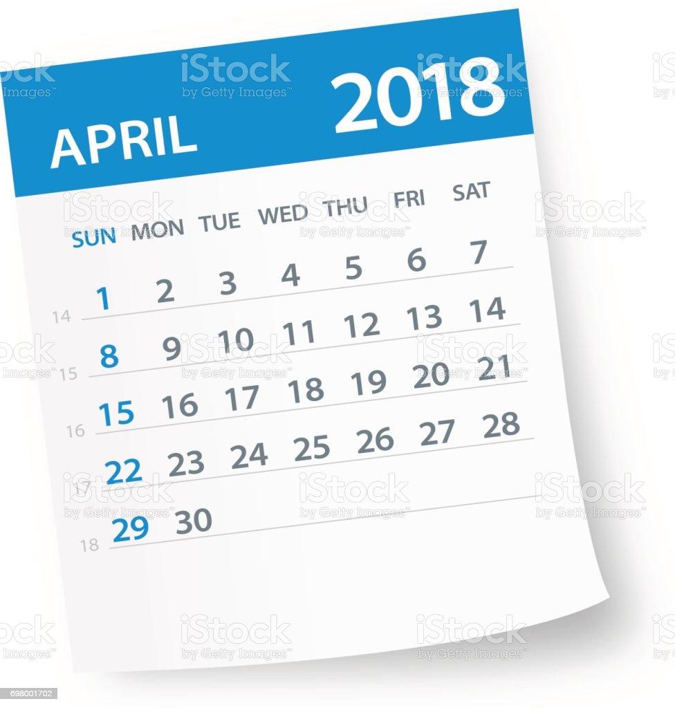 April 2018 Calendar Leaf - Illustration vector art illustration