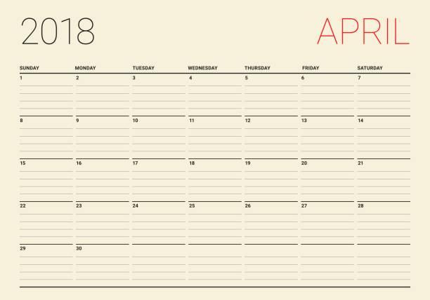april 2018 calendar planner vector illustration vector art illustration