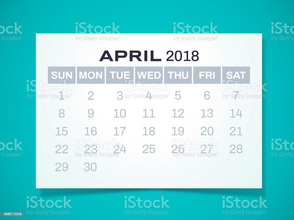 April 2018 Calendar vector art illustration