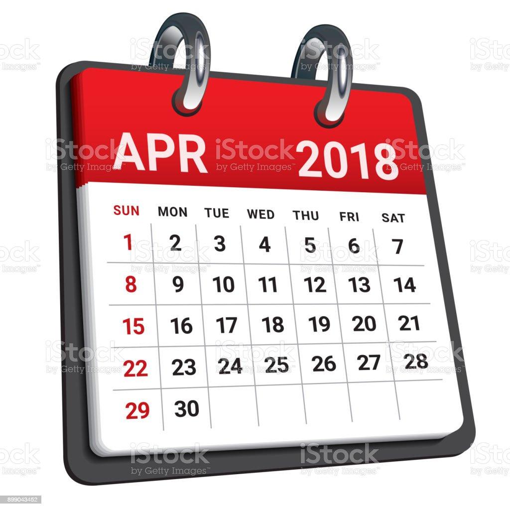 April 2018 calendar vector illustration. vector art illustration