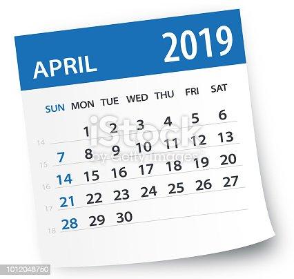 April 2019 Calendar Leaf - Illustration. Vector graphic page