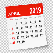 April 2019 calendar isolated on a blank background. Need another version, another month, another year... Check my portfolio. Vector Illustration (EPS10, well layered and grouped). Easy to edit, manipulate, resize or colorize. Please do not hesitate to contact me if you have any questions, or need to customise the illustration. http://www.istockphoto.com/portfolio/bgblue