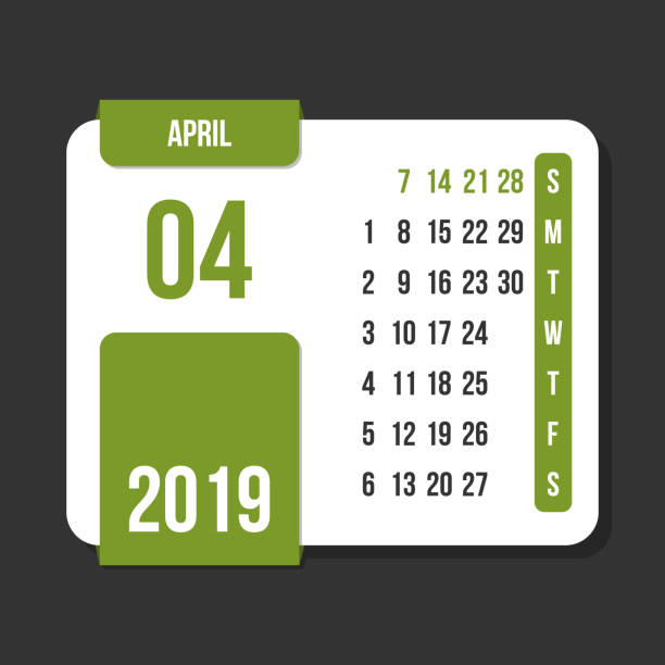 april 2019 month vector calendar - save the date calendar stock illustrations, clip art, cartoons, & icons