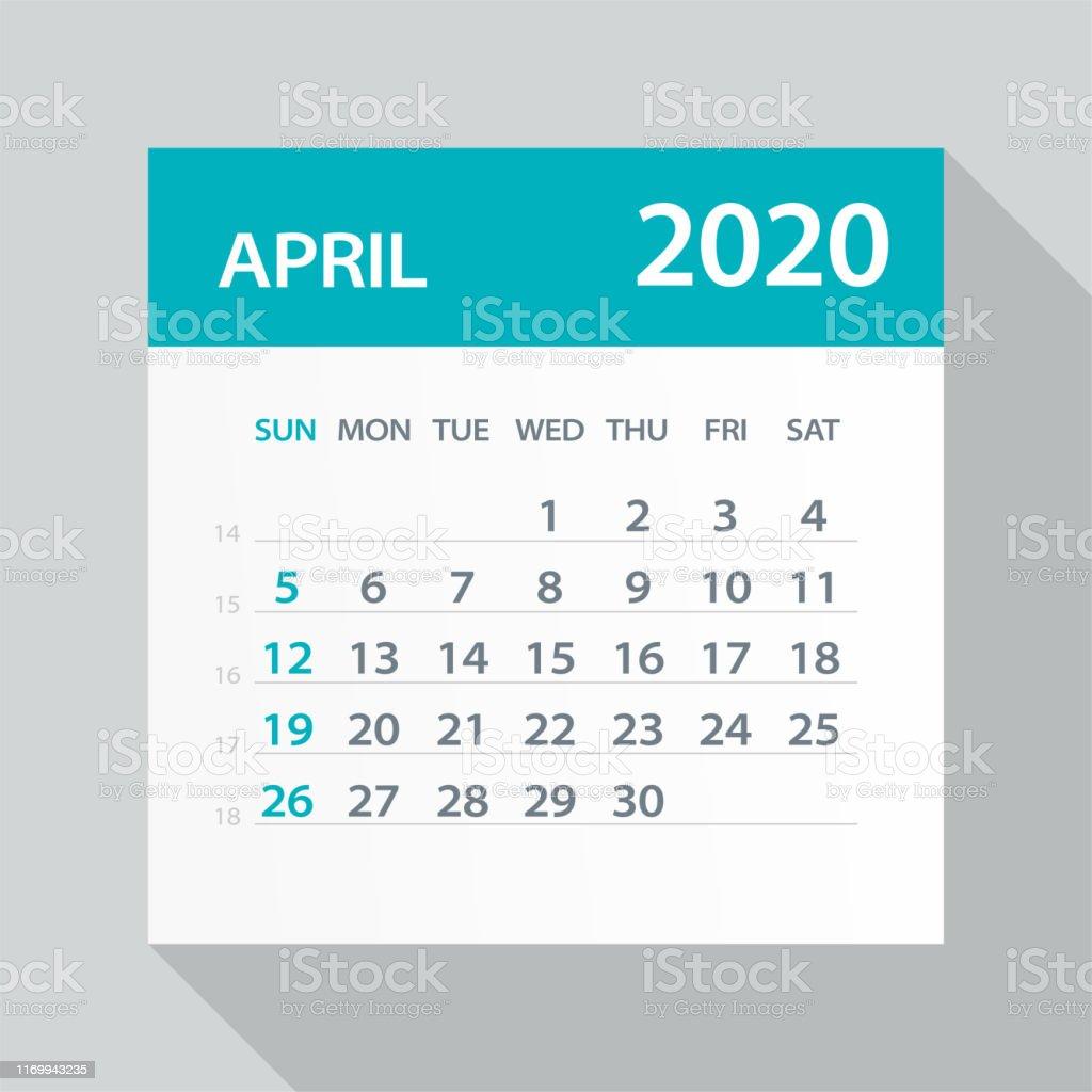 Avril 2020 Feuille De Calendrier Illustration Vector ...