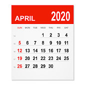 April 2020 calendar isolated on a white background. Need another version, another month, another year... Check my portfolio. Vector Illustration (EPS10, well layered and grouped). Easy to edit, manipulate, resize or colorize.