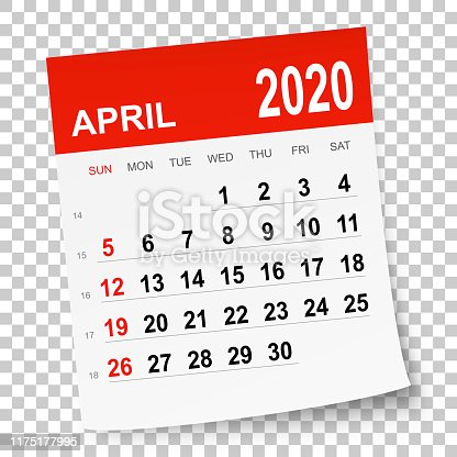 April 2020 calendar isolated on a blank background. Need another version, another month, another year... Check my portfolio. Vector Illustration (EPS10, well layered and grouped). Easy to edit, manipulate, resize or colorize.