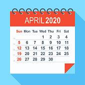 April 2020 - Calendar. Week starts from Sunday