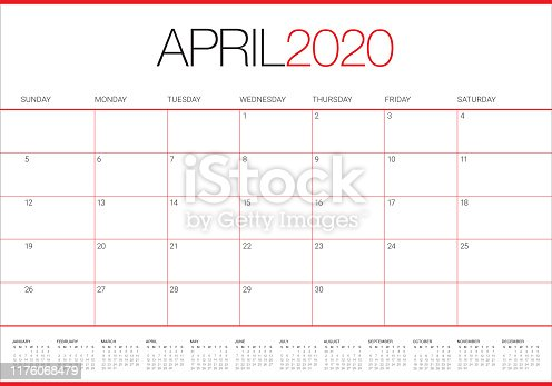 April 2020 desk calendar vector illustration, simple and clean design.