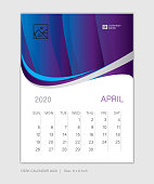 April 2020 template, Desk Calendar for 2020 year, week start on sunday, planner design, wall calendar, stationery, business printing, vertical vector eps10, purple abstract background