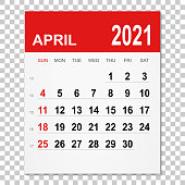April 2021 calendar isolated on a blank background. Need another version, another month, another year... Check my portfolio. Vector Illustration (EPS10, well layered and grouped). Easy to edit, manipulate, resize or colorize.