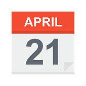 April 21 - Calendar Icon - Vector Illustration