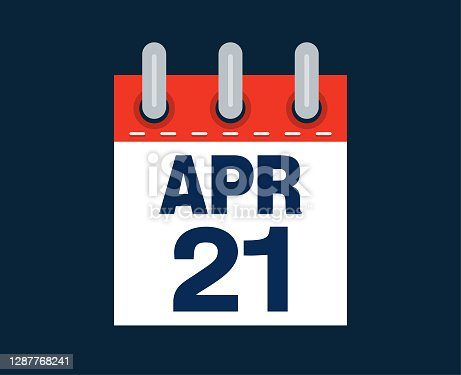 April twenty first calendar date of the month vector illustration