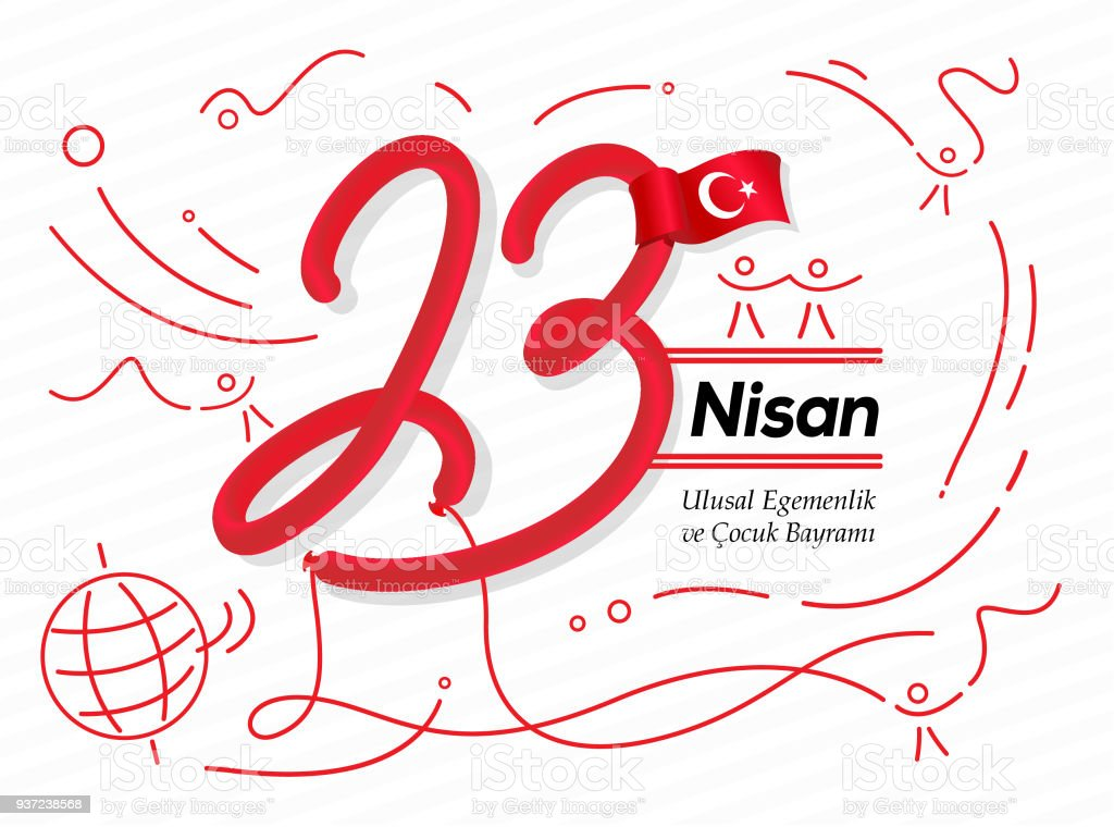 April 23 National Sovereignty and Children's day of Turkey vector art illustration
