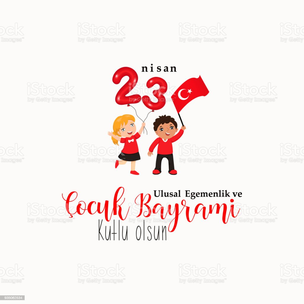 April 23, National Sovereignty and Children's Day. Turkish text: April 23, National Sovereignty and Children's Day. vector art illustration