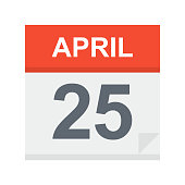 April 25 - Calendar Icon - Vector Illustration