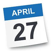 April 27 - Calendar Icon - Vector Illustration