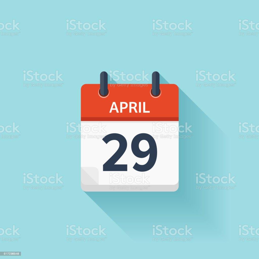 Calendario Diario.Ilustracion De 29 De Abril Icono De Calendario Diario Plano