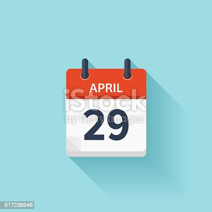 April 29. Vector flat daily calendar icon. Date and time, day, month. Holiday.